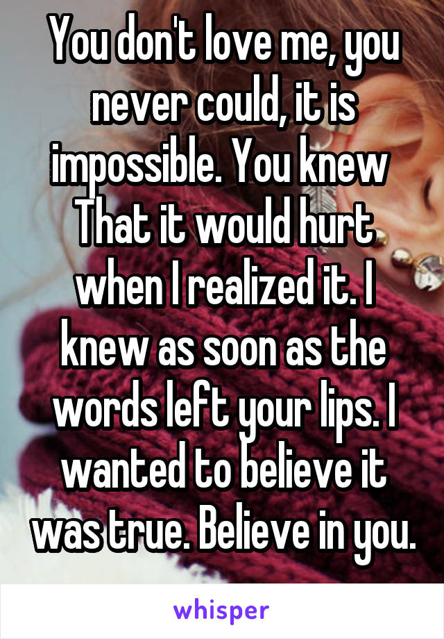 You don't love me, you never could, it is impossible. You knew  That it would hurt when I realized it. I knew as soon as the words left your lips. I wanted to believe it was true. Believe in you.