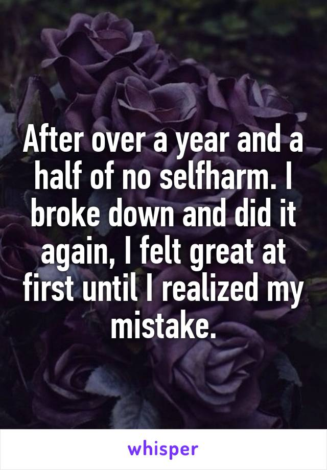 After over a year and a half of no selfharm. I broke down and did it again, I felt great at first until I realized my mistake.