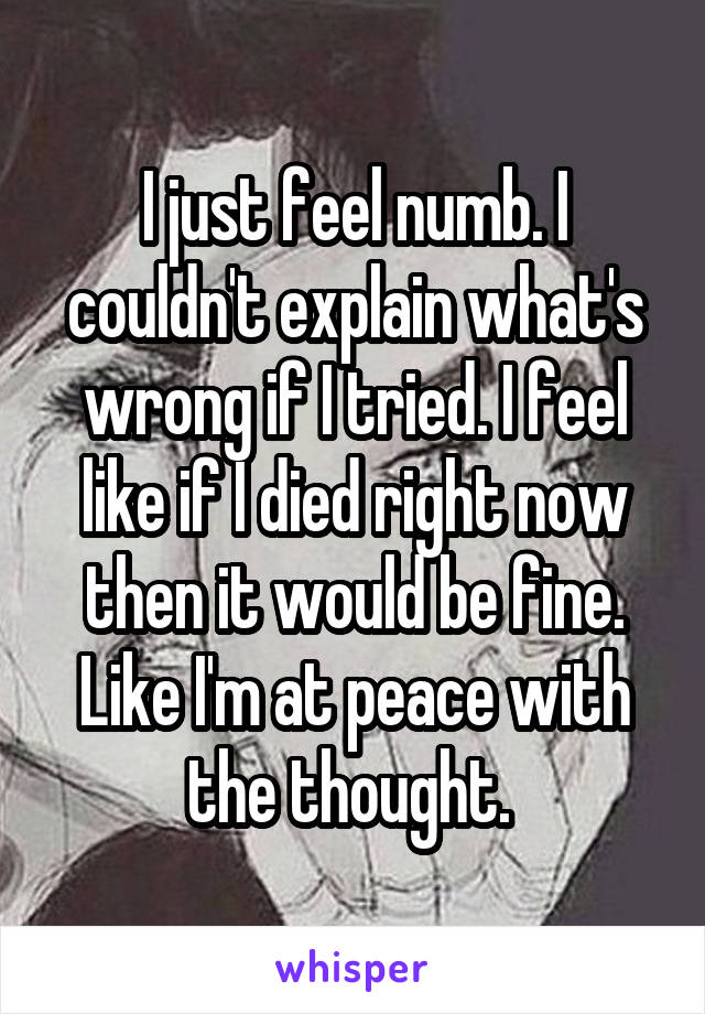 I just feel numb. I couldn't explain what's wrong if I tried. I feel like if I died right now then it would be fine. Like I'm at peace with the thought.