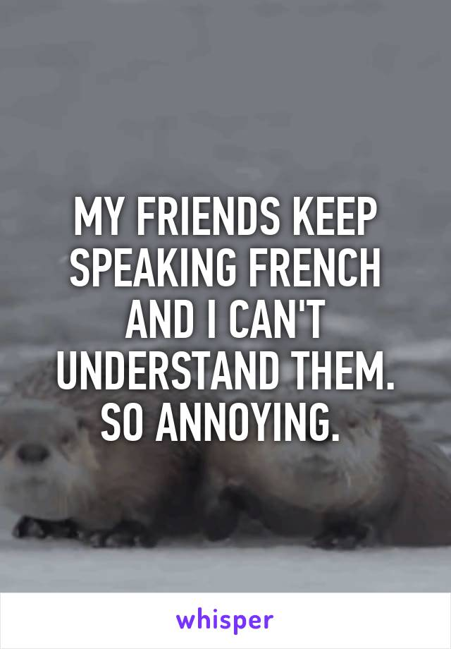 MY FRIENDS KEEP SPEAKING FRENCH AND I CAN'T UNDERSTAND THEM. SO ANNOYING.