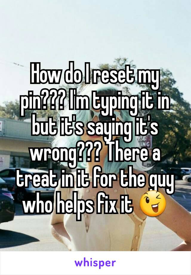 How do I reset my pin??? I'm typing it in but it's saying it's wrong??? There a treat in it for the guy who helps fix it 😉