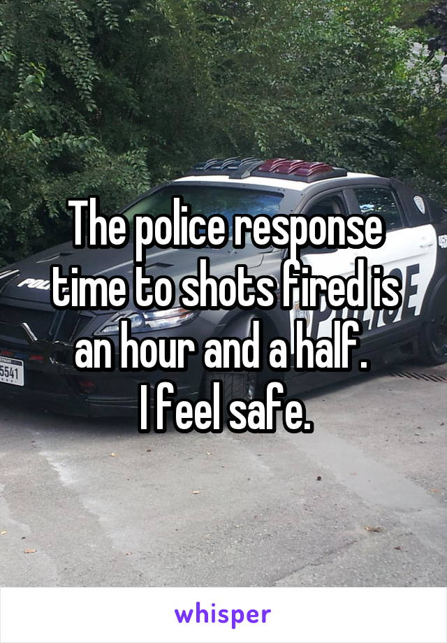 The police response time to shots fired is an hour and a half.  I feel safe.