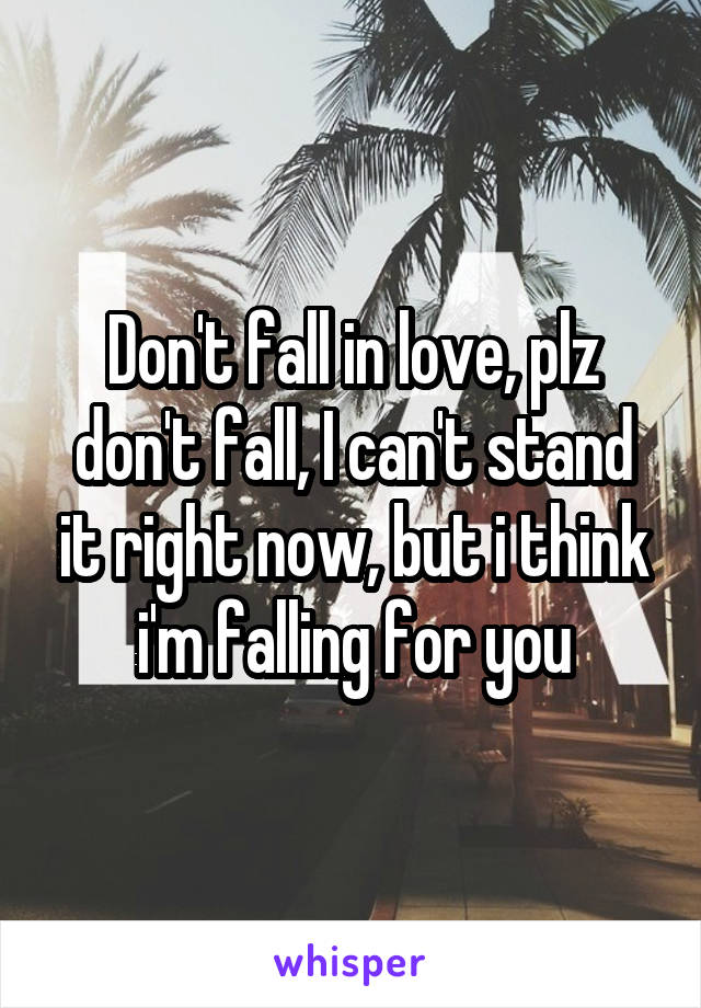 Don't fall in love, plz don't fall, I can't stand it right now, but i think i'm falling for you