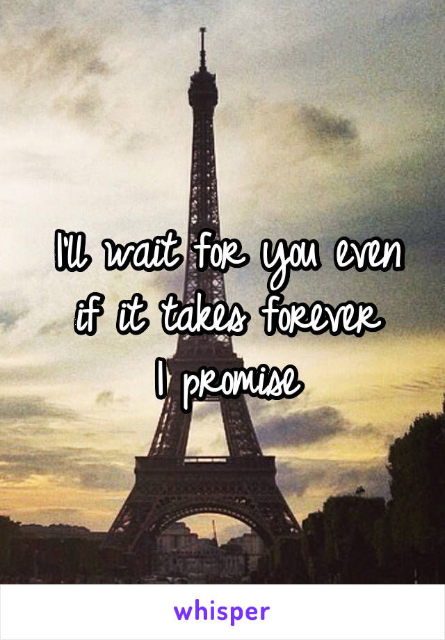 I'll wait for you even if it takes forever I promise