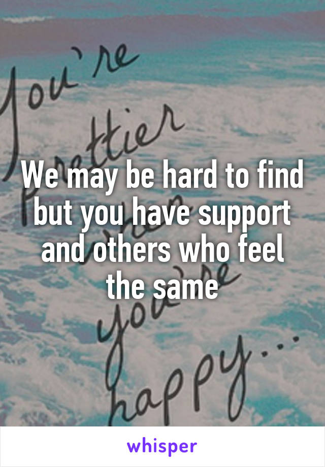 We may be hard to find but you have support and others who feel the same