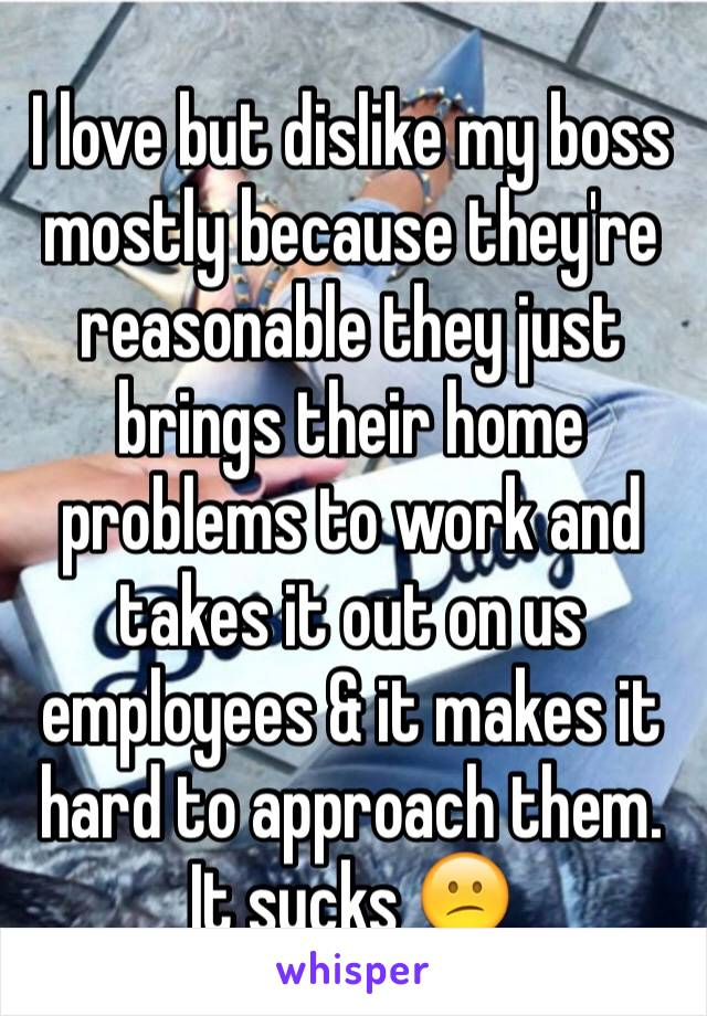 I love but dislike my boss mostly because they're reasonable they just brings their home problems to work and takes it out on us employees & it makes it hard to approach them. It sucks 😕