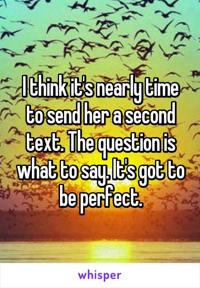 I think it's nearly time to send her a second text. The question is what to say. It's got to be perfect.