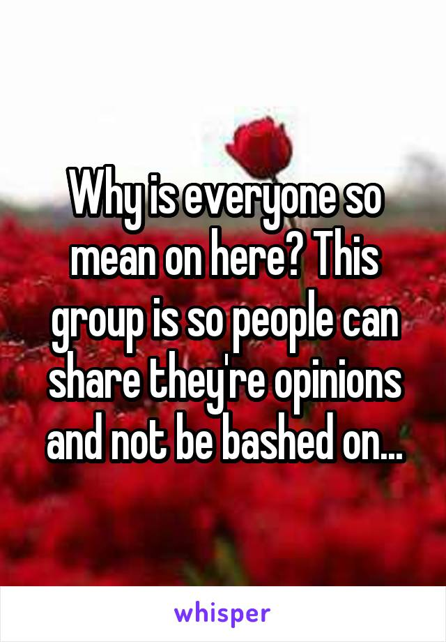 Why is everyone so mean on here? This group is so people can share they're opinions and not be bashed on...
