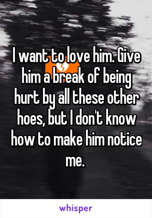 I want to love him. Give him a break of being hurt by all these other hoes, but I don't know how to make him notice me.