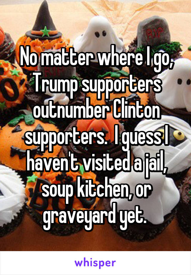 No matter where I go, Trump supporters outnumber Clinton supporters.  I guess I haven't visited a jail, soup kitchen, or graveyard yet.