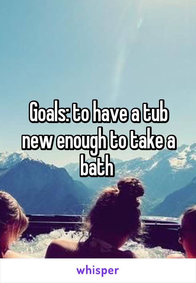 Goals: to have a tub new enough to take a bath