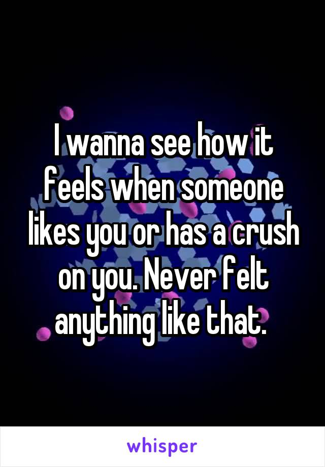 I wanna see how it feels when someone likes you or has a crush on you. Never felt anything like that.