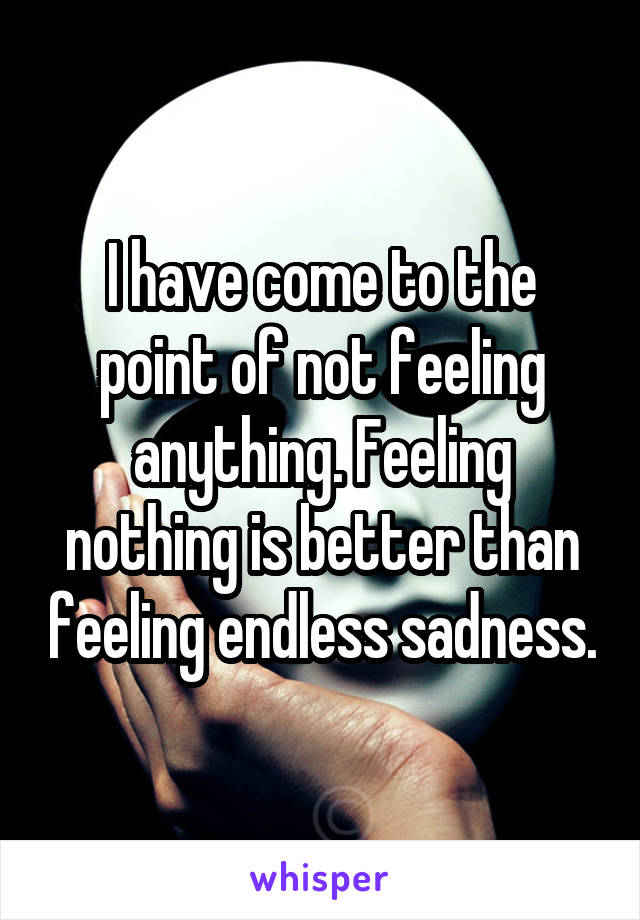 I have come to the point of not feeling anything. Feeling nothing is better than feeling endless sadness.