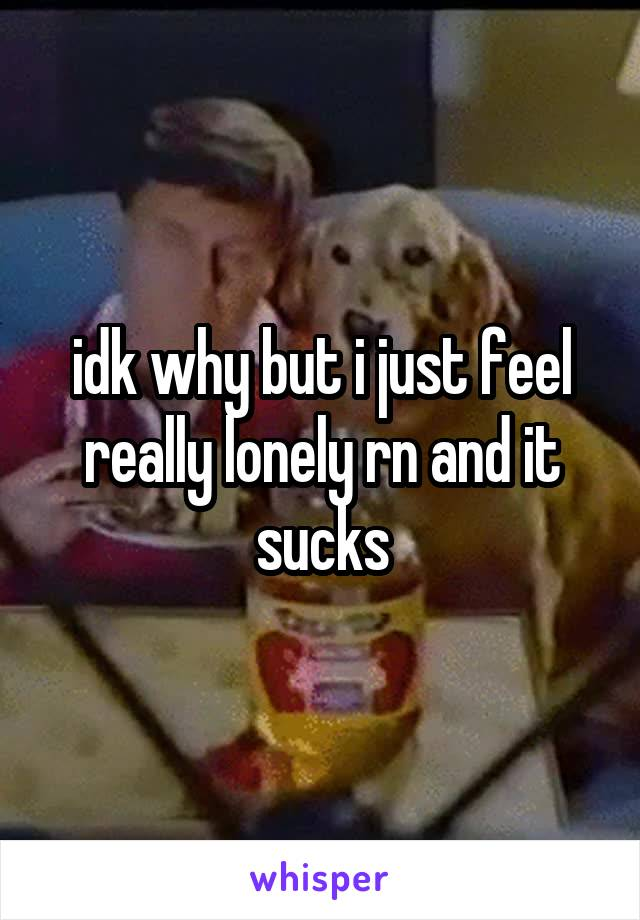 idk why but i just feel really lonely rn and it sucks