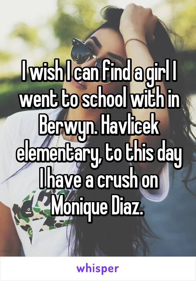 I wish I can find a girl I went to school with in Berwyn. Havlicek elementary, to this day I have a crush on Monique Diaz.