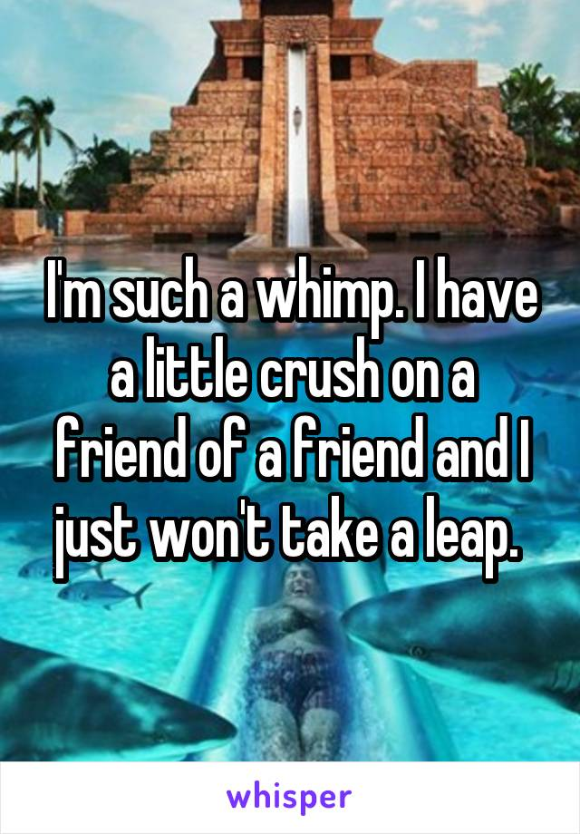 I'm such a whimp. I have a little crush on a friend of a friend and I just won't take a leap.