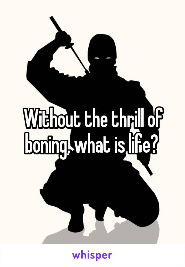 Without the thrill of boning, what is life?