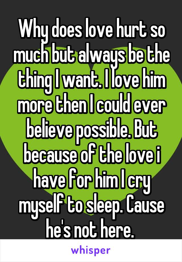 Why does love hurt so much but always be the thing I want. I love him more then I could ever believe possible. But because of the love i have for him I cry myself to sleep. Cause he's not here.