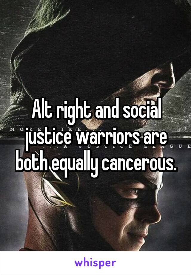 Alt right and social justice warriors are both equally cancerous.