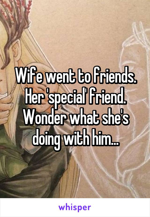 Wife went to friends. Her 'special' friend. Wonder what she's doing with him...