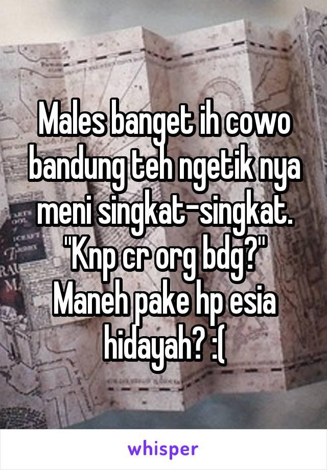 """Males banget ih cowo bandung teh ngetik nya meni singkat-singkat. """"Knp cr org bdg?"""" Maneh pake hp esia hidayah? :("""