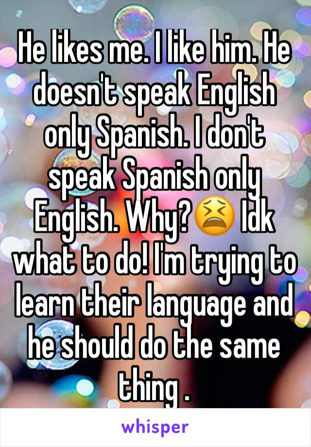 He likes me. I like him. He doesn't speak English only Spanish. I don't speak Spanish only English. Why?😫 Idk what to do! I'm trying to learn their language and he should do the same thing .
