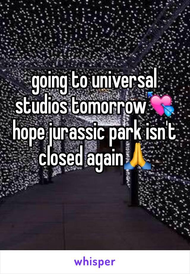 going to universal studios tomorrow💘 hope jurassic park isn't closed again🙏