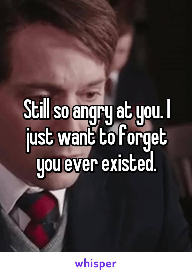 Still so angry at you. I just want to forget you ever existed.