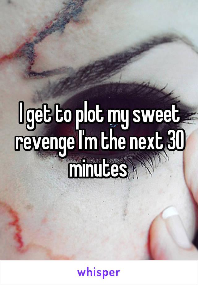 I get to plot my sweet revenge I'm the next 30 minutes