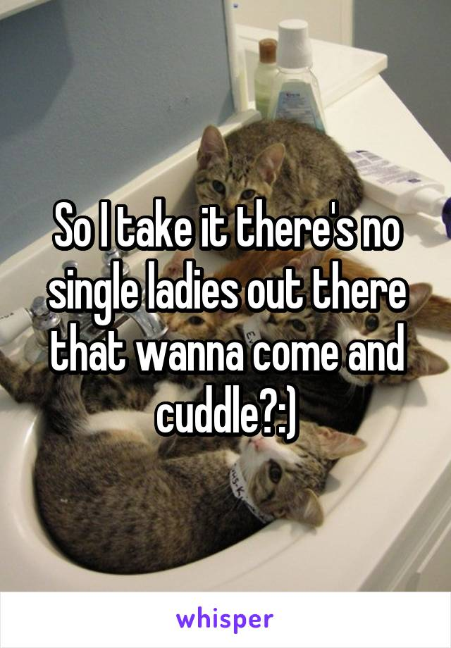 So I take it there's no single ladies out there that wanna come and cuddle?:)