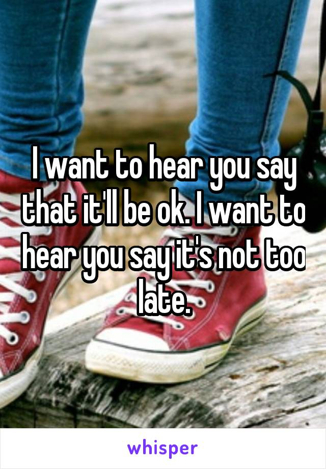 I want to hear you say that it'll be ok. I want to hear you say it's not too late.
