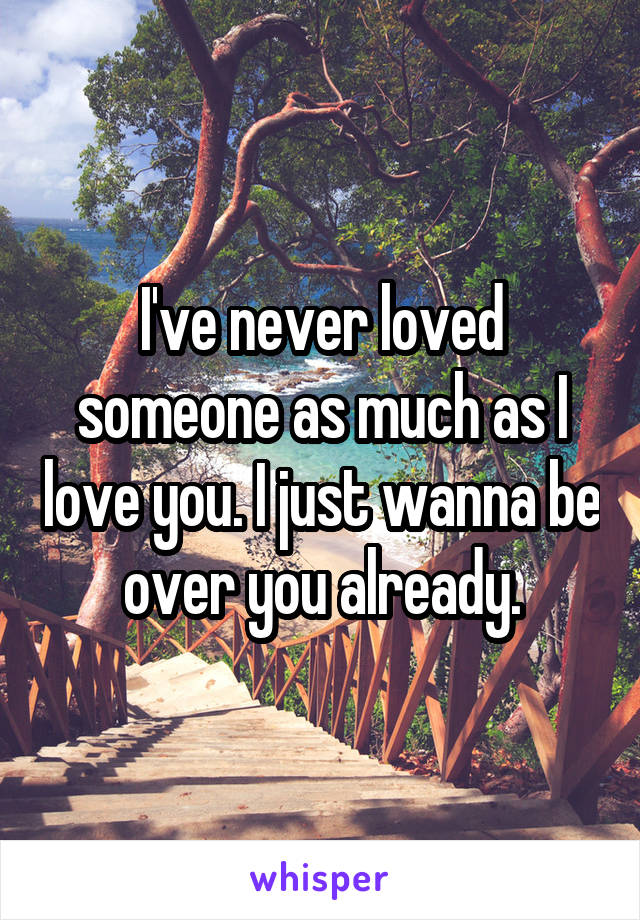 I've never loved someone as much as I love you. I just wanna be over you already.