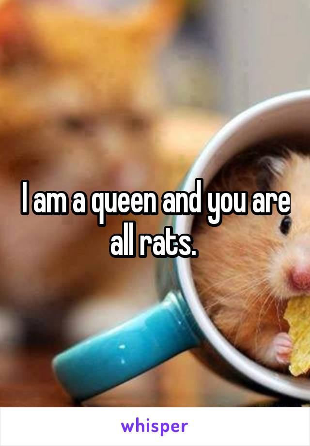 I am a queen and you are all rats.