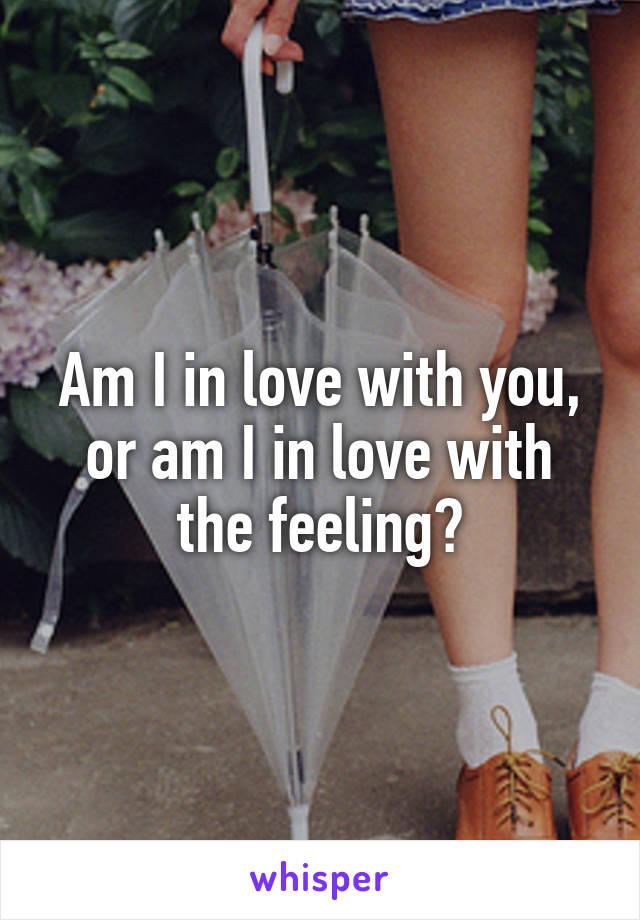 Am I in love with you, or am I in love with the feeling?