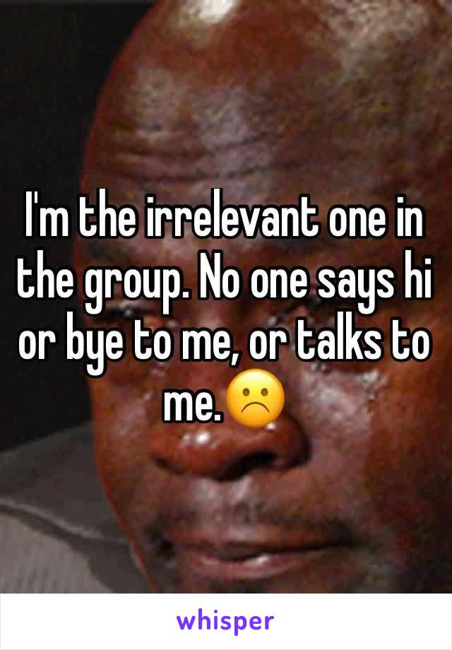 I'm the irrelevant one in the group. No one says hi or bye to me, or talks to me.☹️️