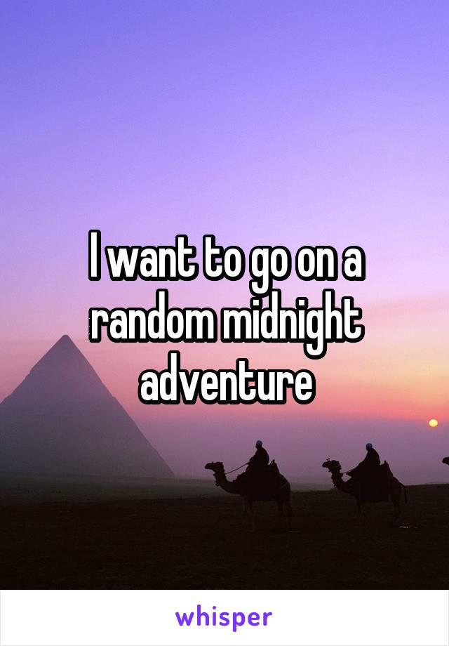I want to go on a random midnight adventure