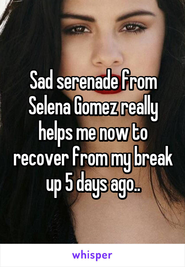Sad serenade from Selena Gomez really helps me now to recover from my break up 5 days ago..