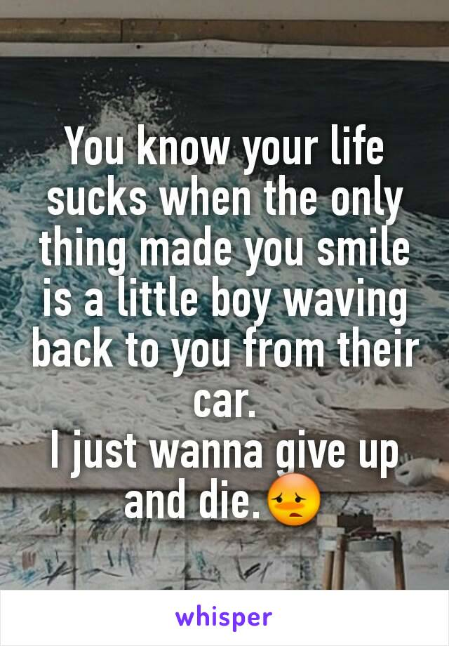 You know your life sucks when the only thing made you smile is a little boy waving back to you from their car. I just wanna give up and die.😳
