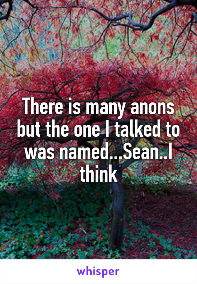 There is many anons but the one I talked to was named...Sean..I think
