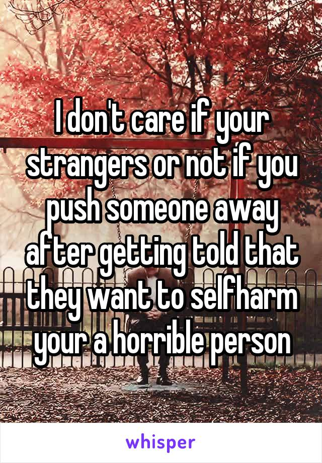 I don't care if your strangers or not if you push someone away after getting told that they want to selfharm your a horrible person