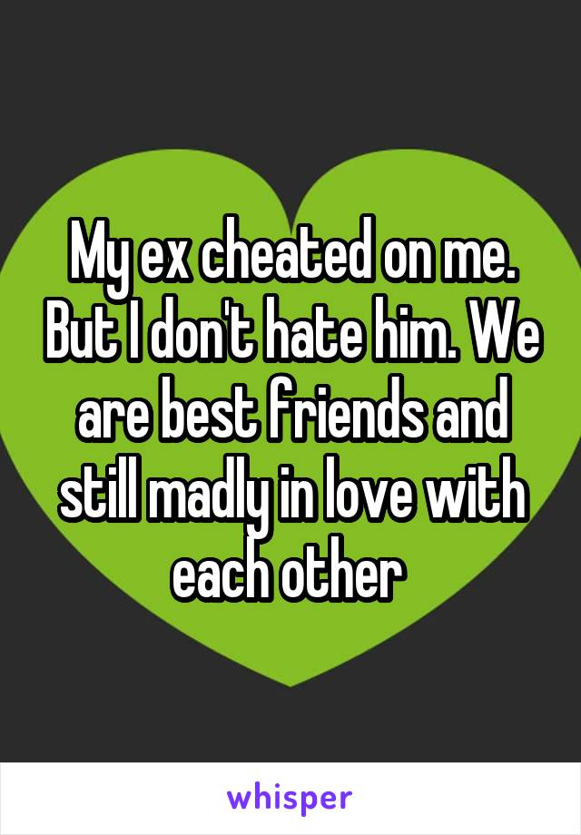 My ex cheated on me. But I don't hate him. We are best friends and still madly in love with each other