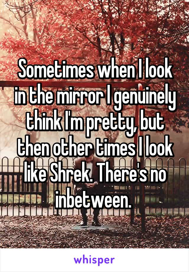 Sometimes when I look in the mirror I genuinely think I'm pretty, but then other times I look like Shrek. There's no inbetween.