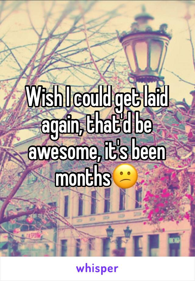 Wish I could get laid again, that'd be awesome, it's been months😕