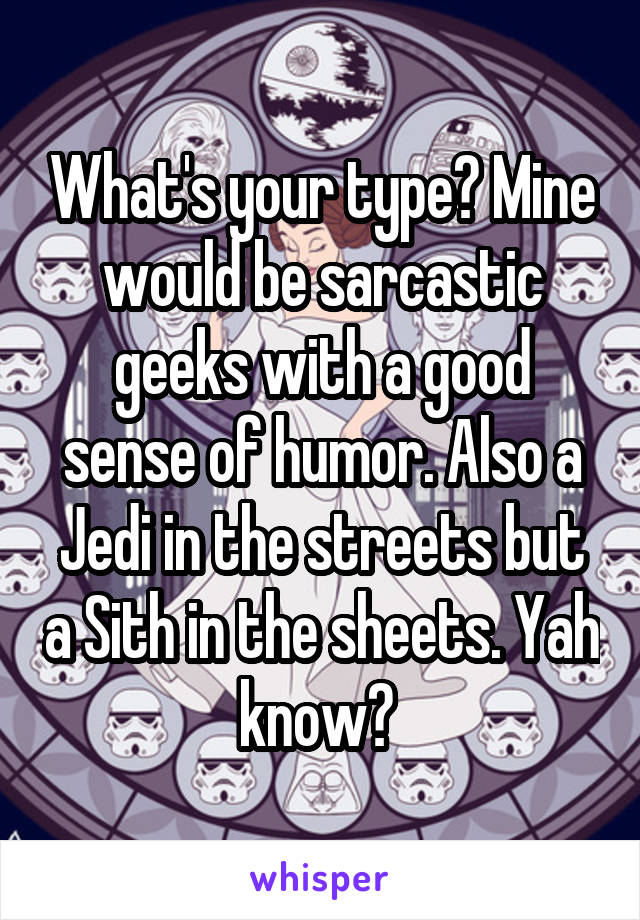 What's your type? Mine would be sarcastic geeks with a good sense of humor. Also a Jedi in the streets but a Sith in the sheets. Yah know?