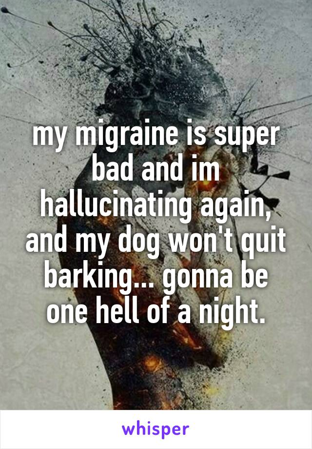 my migraine is super bad and im hallucinating again, and my dog won't quit barking... gonna be one hell of a night.