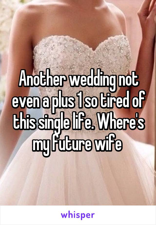 Another wedding not even a plus 1 so tired of this single life. Where's my future wife