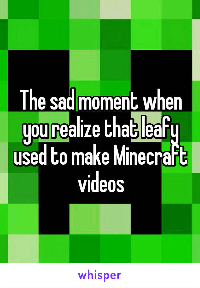 The sad moment when you realize that leafy used to make Minecraft videos