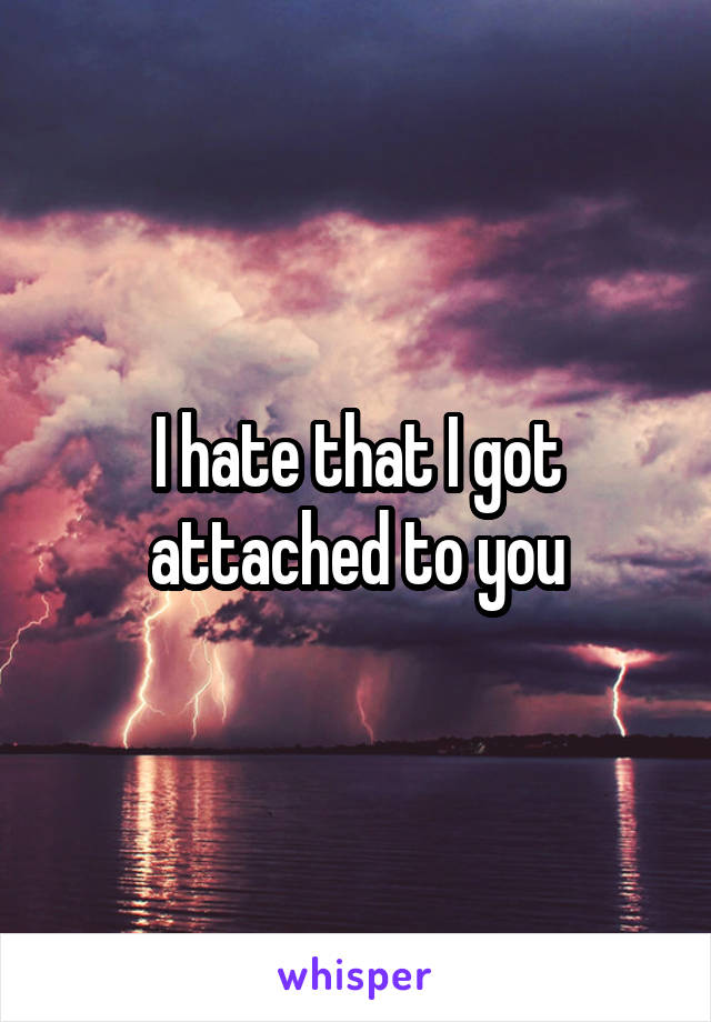 I hate that I got attached to you
