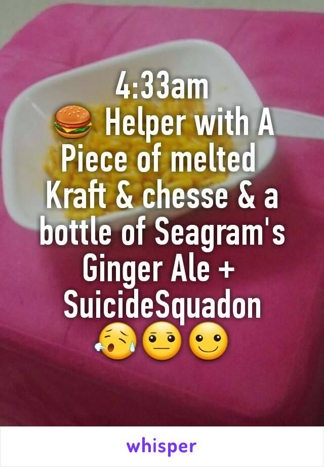 4:33am 🍔 Helper with A Piece of melted  Kraft & chesse & a bottle of Seagram's Ginger Ale +  SuicideSquadon 😥😐☺