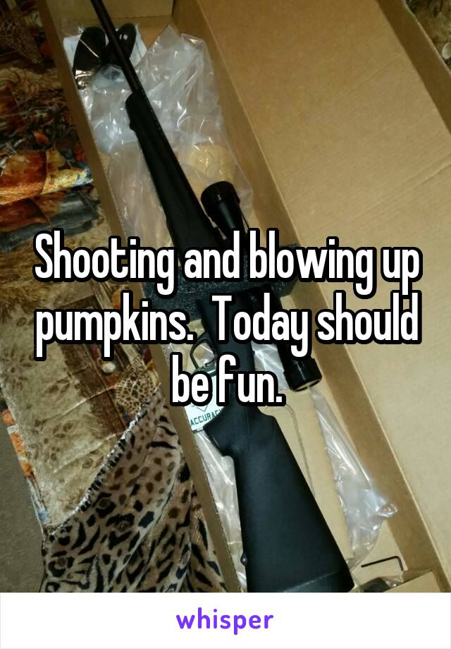 Shooting and blowing up pumpkins.  Today should be fun.